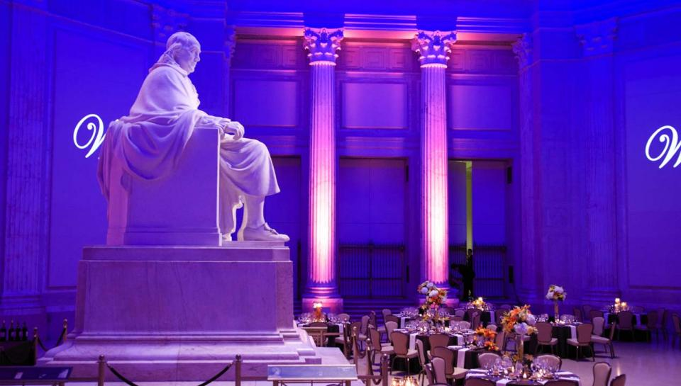 The Benjamin Franklin Rotunda at The Franklin Institute set up to host an event.