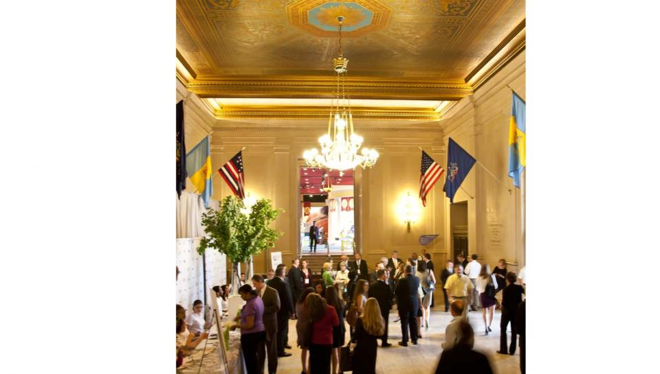 A corporate event being held in Jordan Lobby at The Franklin Institute.