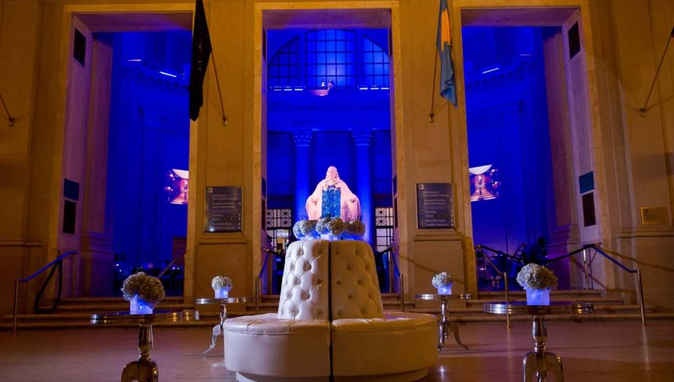 Jordan Lobby set up to hold an event at The Franklin Institute.