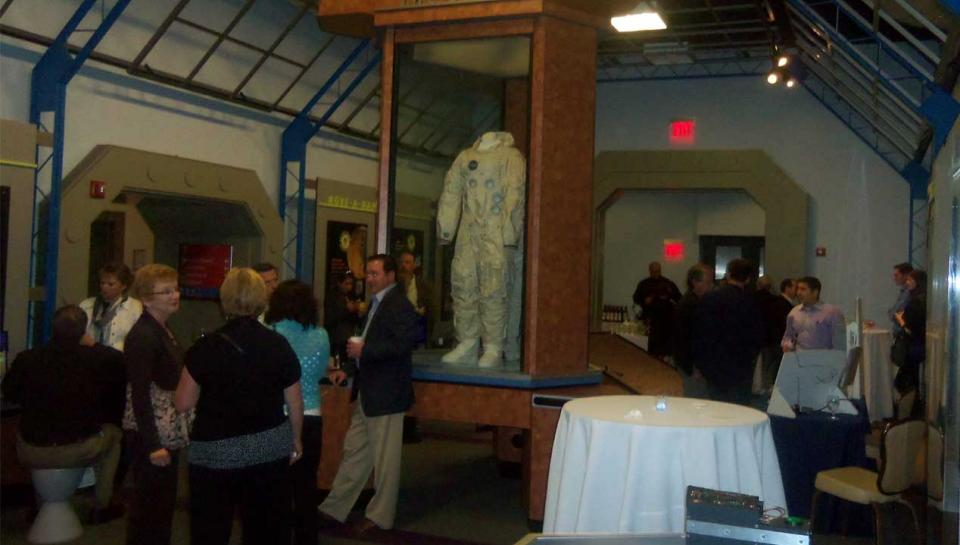 A reception being held in the Space Command exhibit at the Franklin Institute.A reception being held in the Space Command exhibit at The Franklin Institute.