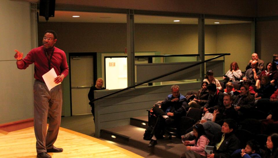 Derrick Pitts leads a discussion at a Night Skies program hosted at The Franklin Institute.