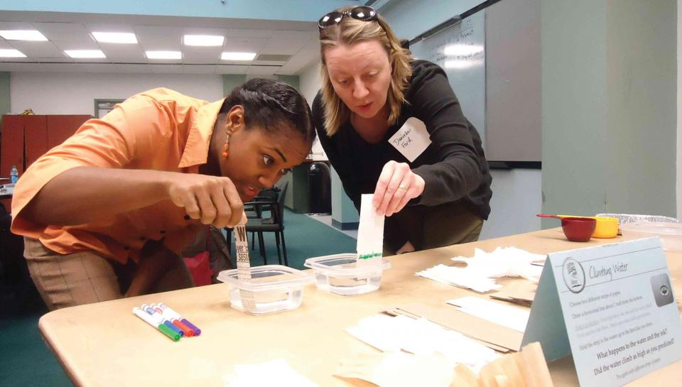 Teachers participate in a LEAP into Science workshop.