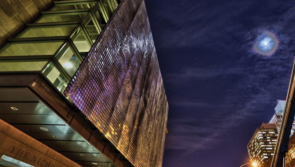The Shimmer Wall at night, facing Race Street.