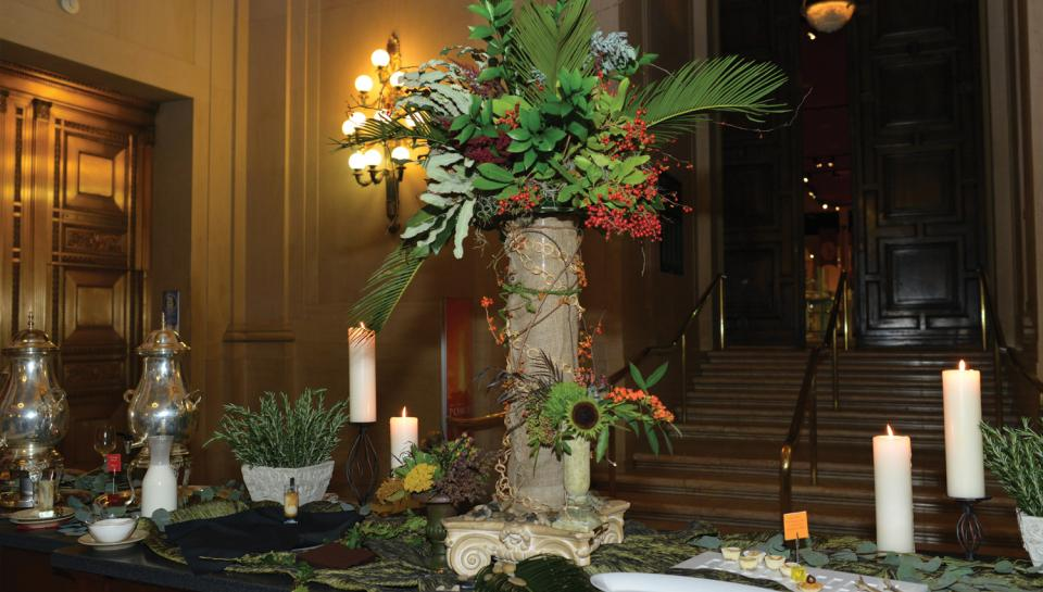 Jordan Lobby decorated to host a reception for the One Day in Pompeii traveling exhibit at The Franklin Institute.