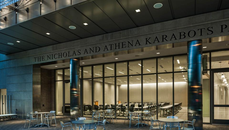 The Nicholas and Athena Karabots Pavilion at night