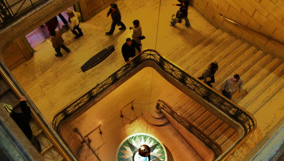 overview of pendulum staircase at The Franklin Institute