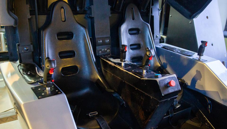 Photo of the Maverick flight simulator seats