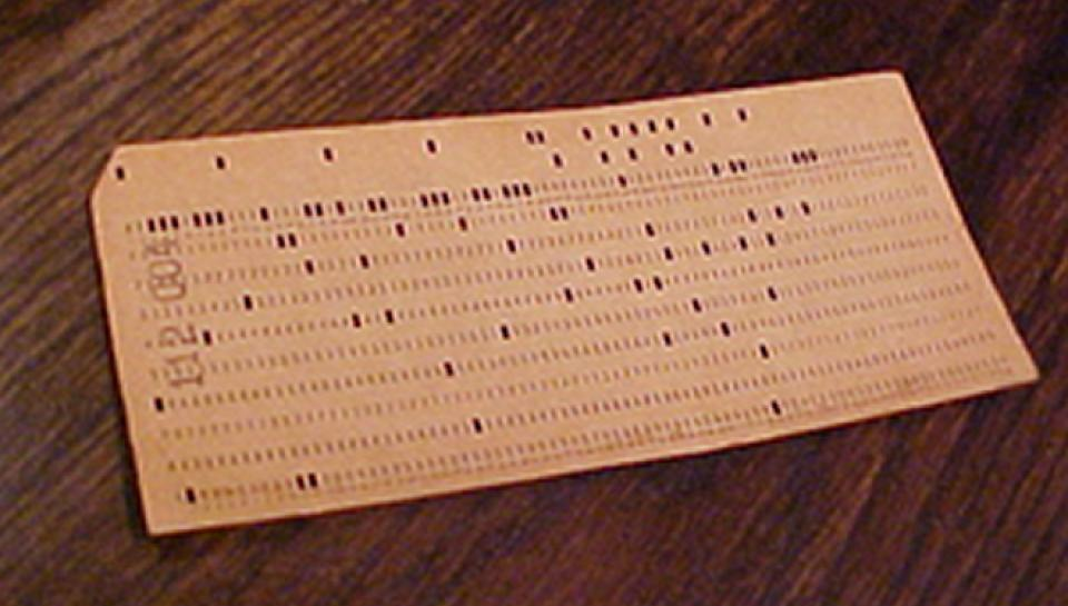 Photo of punch card.