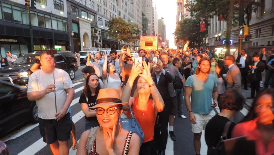 A crowd gathers to see Manhattanhenge on West 42nd Street in 2016.