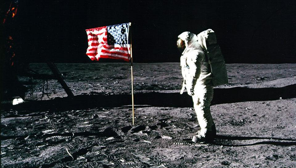 Edwin Aldrin and the U.S. Flag