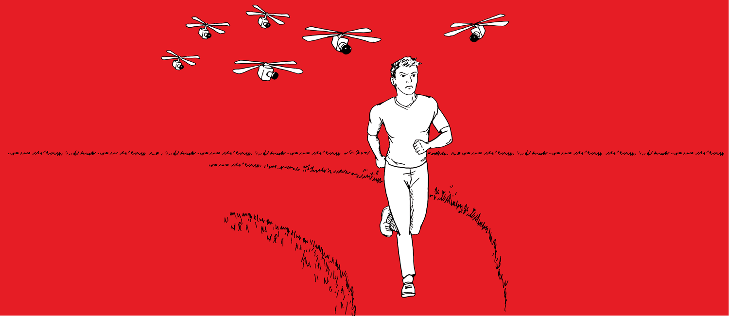 Worst-Case Scenario Drawing of Man Being Chased By Drones