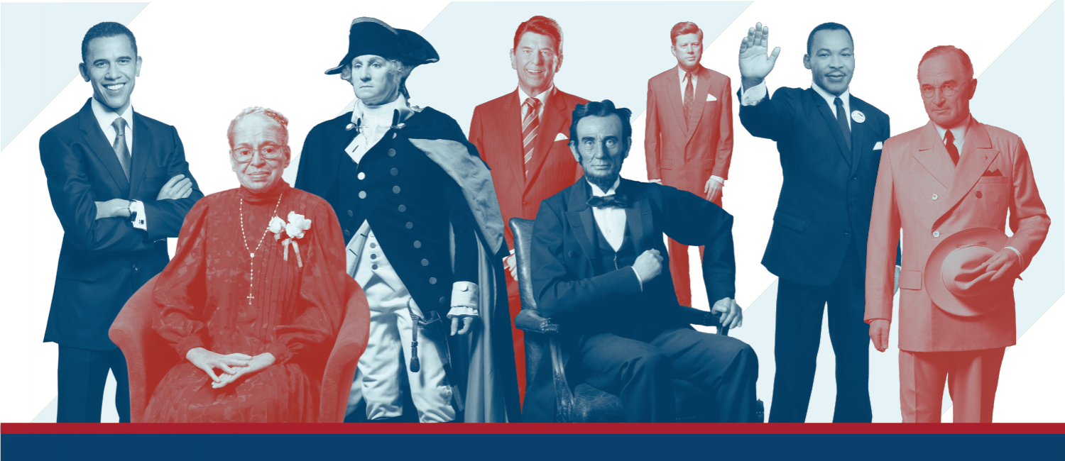 """Several wax presidents and historical figures from """"The Presidents by Madame Tussauds"""" exhibit at The Franklin Institute"""
