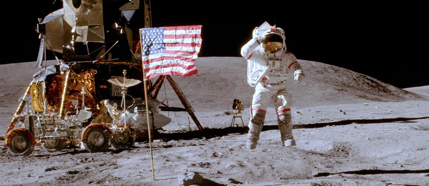 Photo of Astronaut and American Flag from Apollo Moon Landing