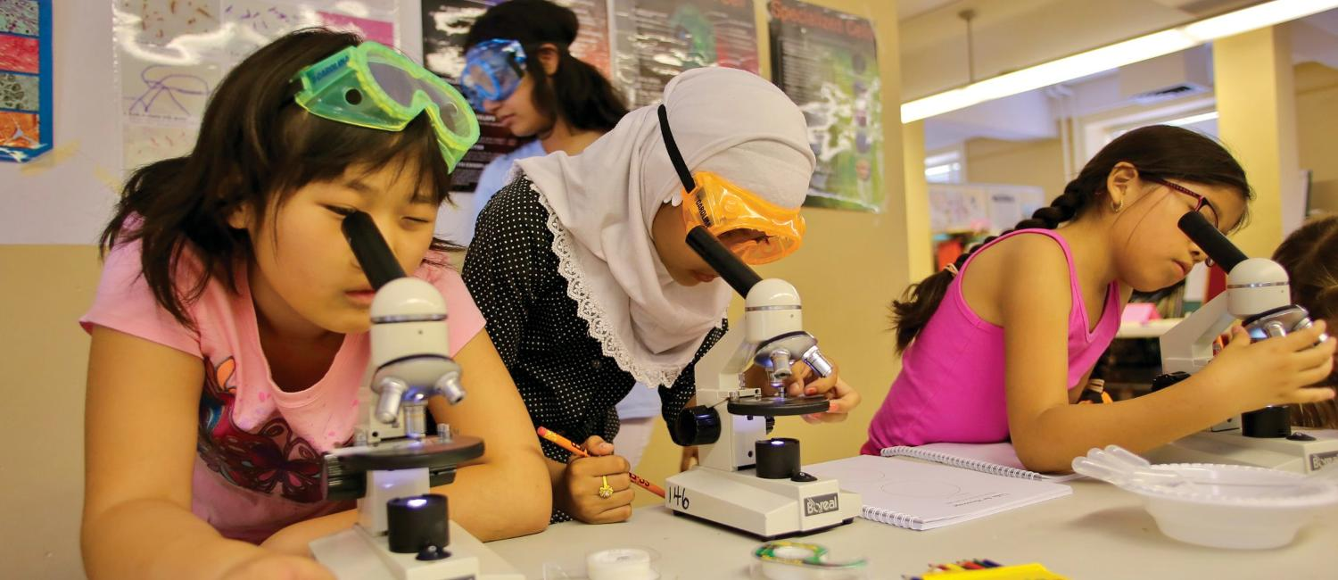Girls learning during a workshop while looking through microscopes.