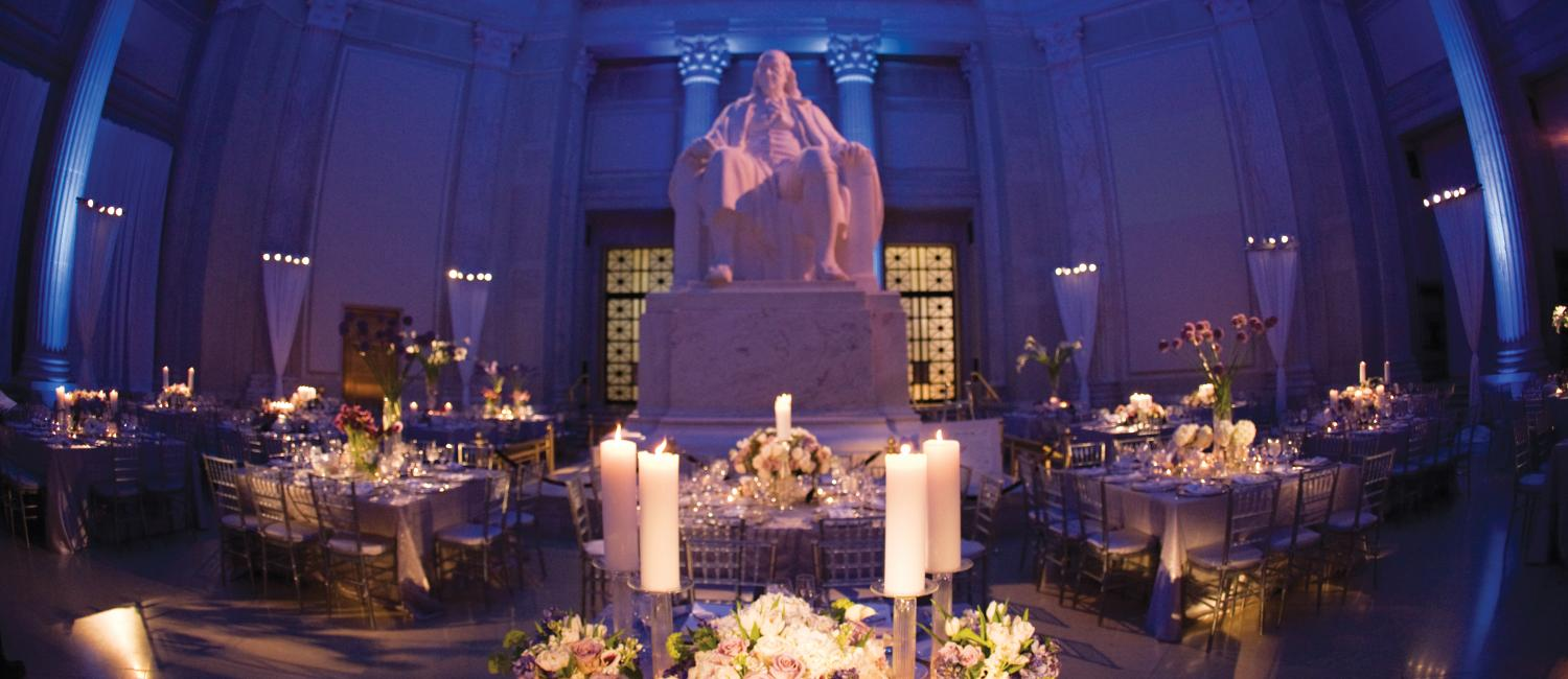 beautiful set up for a wedding in the franklin memorial