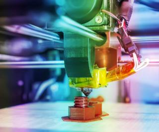 Rainbow prismatic image of 3D printer
