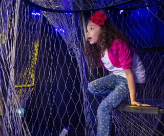 A young girl looks amazed as she crawls through The Climb in the Your Brain exhibit.