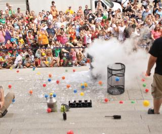 Ball pit explosions during a Live Science show on the front steps!