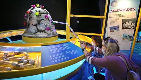 A young museum visitor to Crayola IDEAworks: The Creativity Exhibition