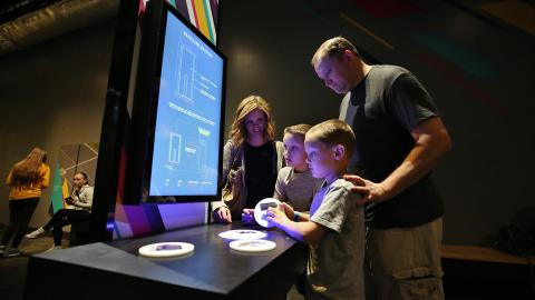 """Photo of a """"How Batteries"""" work interactive in the Now Next Exhibit"""
