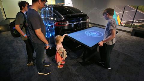 Touch table interactive showing the inside of the Tesla Battery in the Now Next Exhibit