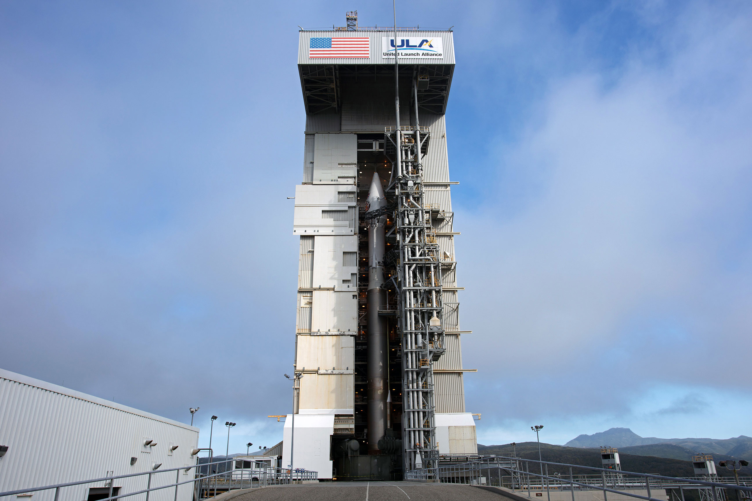 InSight's Atlas V rocket sits inside of the Mobile Service Tower at Space Launch Complex 3 the day before launch.  Photo: Jon Brack