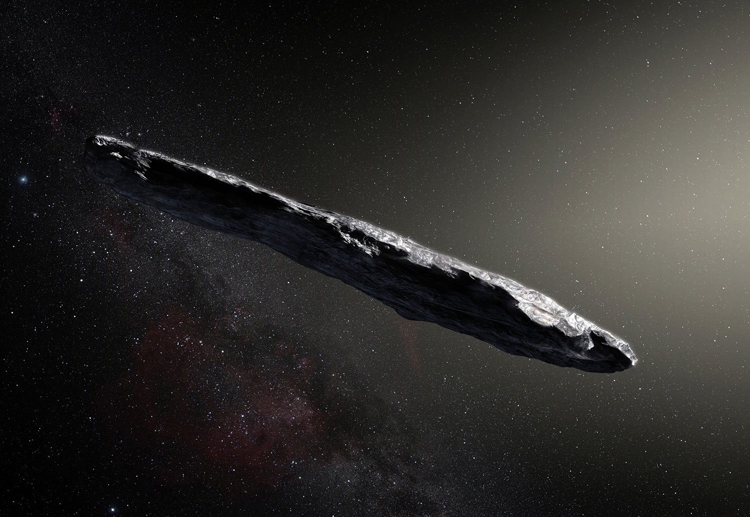 Artist's impression of the first interstellar asteroid: `Oumuamua.