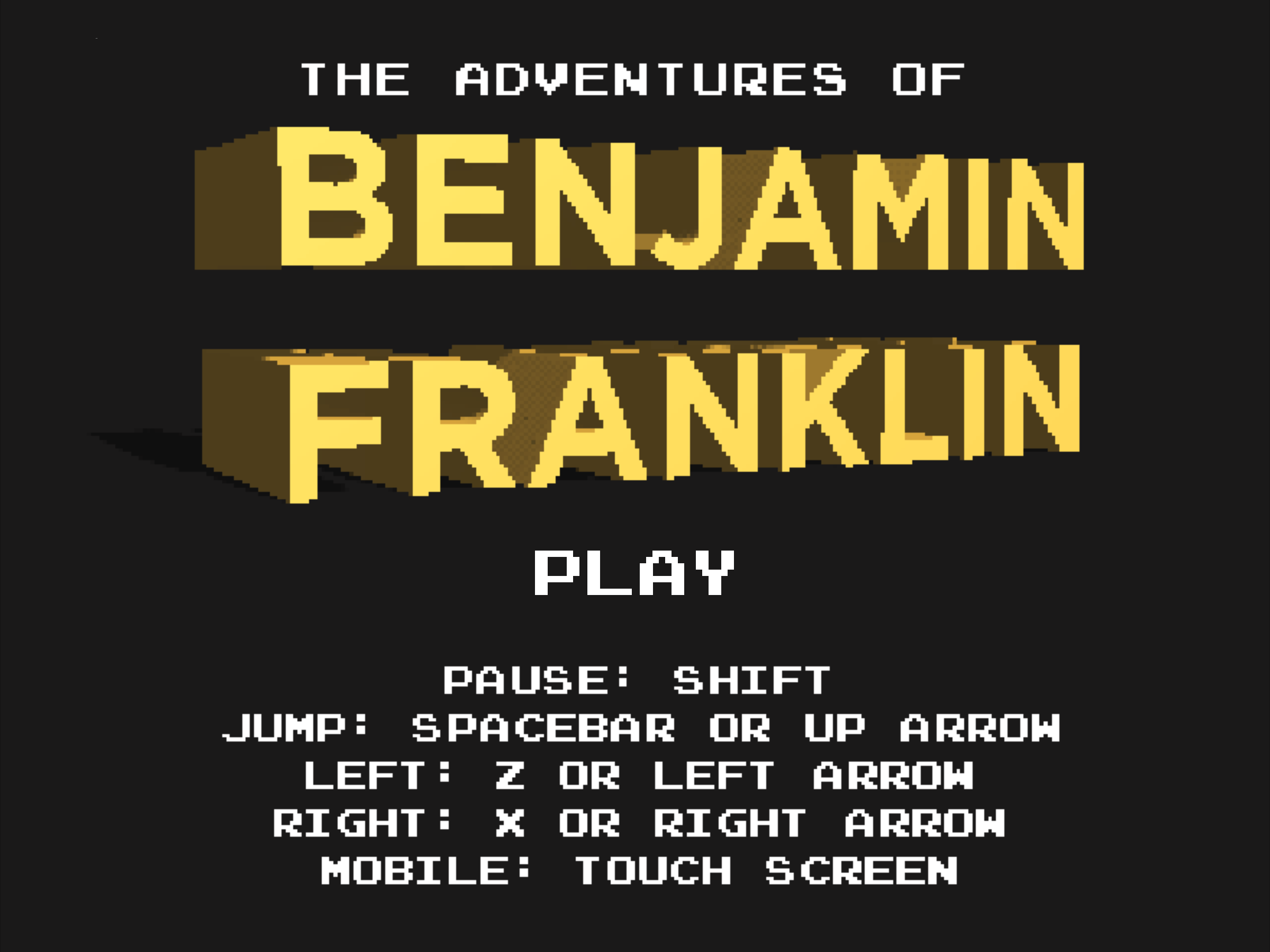 8 Bit Ben Game Start Screen for Mobile Devices