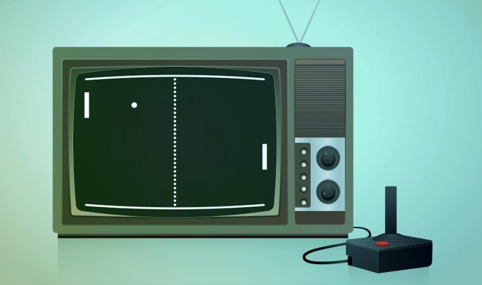 Graphic of old time TV with game controller attached