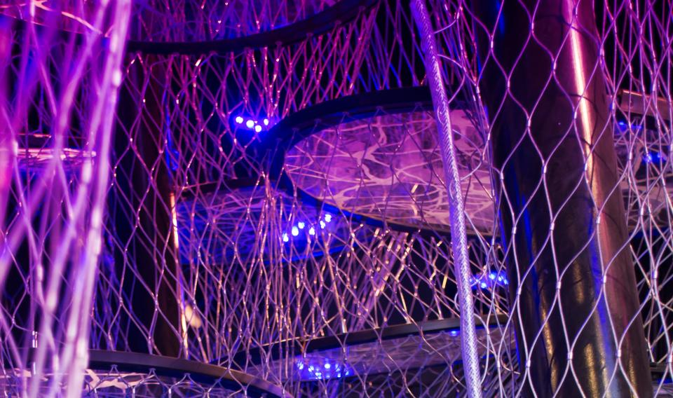 Photograph of The Neural Climb inside the Your Brain exhibit at The Franklin Institute.