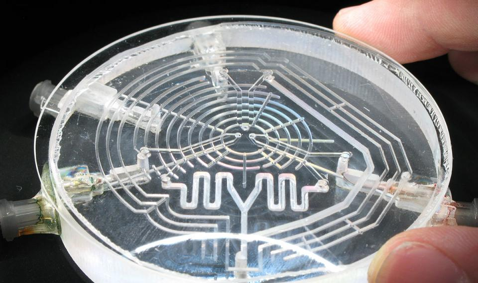 Microfluidic palette used at NIST. The mixing area is the pin-sized chamber bordered by three holes in the center of the top layer.