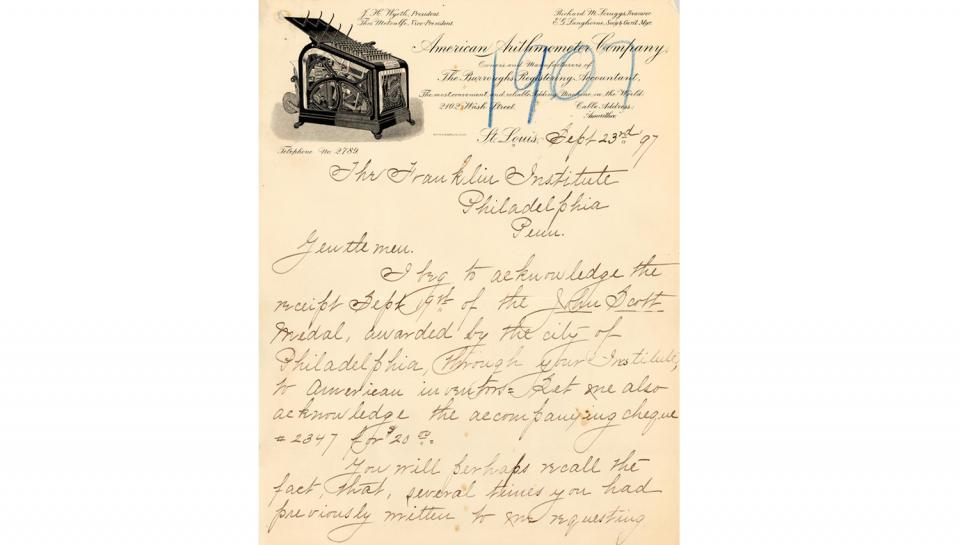 1st page out of 5 of Burroughs' thank you letter sent to The Franklin Institute mentioning the bronze medal and the $20.00 premium awarded.