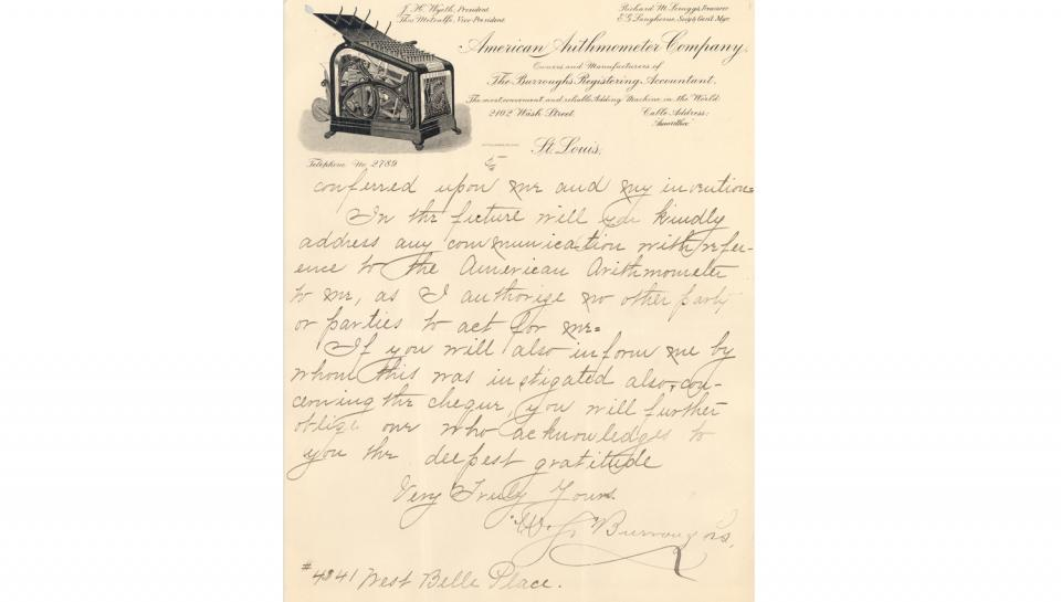 5thpage out of 5 of Burroughs' thank you letter sent to The Franklin Institute mentioning the bronze medal and the $20.00 premium awarded.