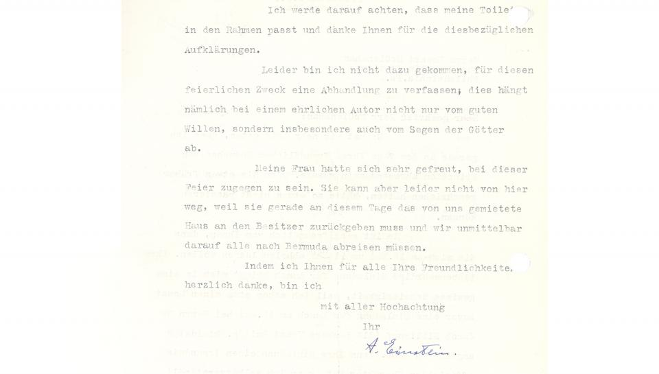"2nd page of a 2-page letter from Dr. Einstein to Dr. McClenahan, signed ""A. Einstein"" (in German), 4/29/1935"