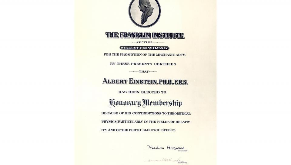 Honorary Membership certificate awarded to Albert Einstein by The Franklin Institute.