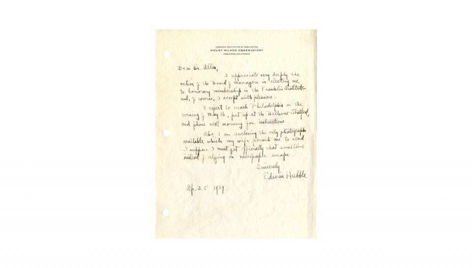 Letter from Edwin Hubble to Dr. Allen, Appreciating honorary membership of The Franklin Institute and informing of travel plans, 4/28/1939