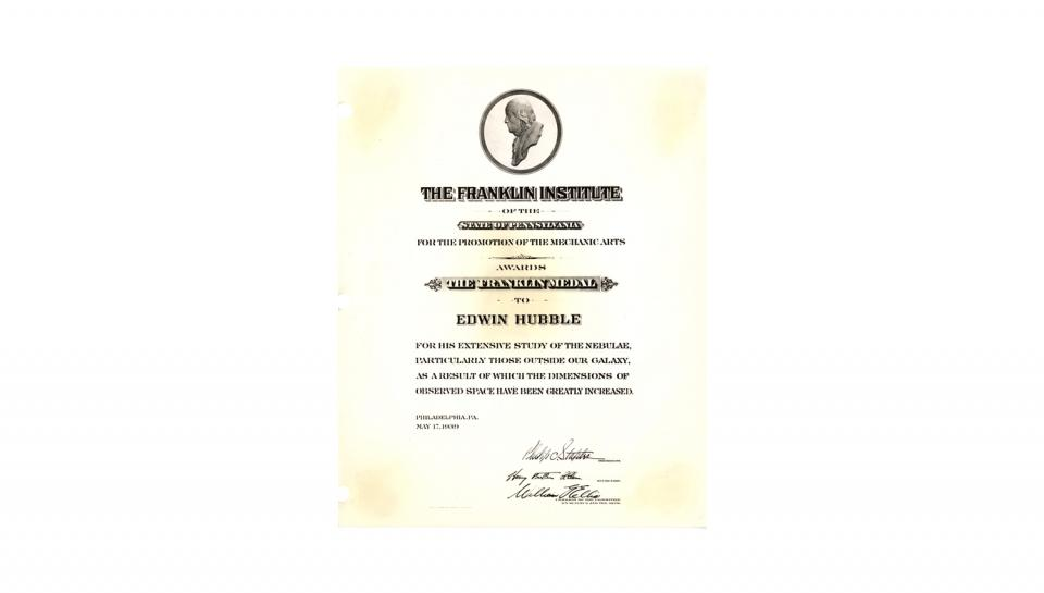 Awards certificate awarded to Edwin Hubble for his extensive study of the nebulae..., 5/17/1939