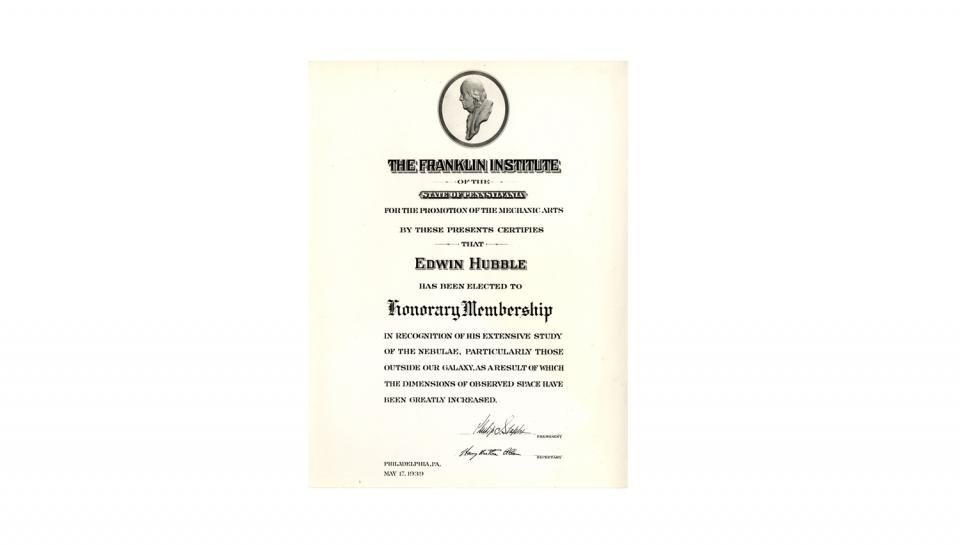 Honorary membership certificate to Edwin Hubble for recognition of his extensive study of the nebulae