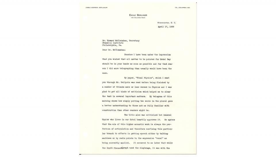 1st page out of 2 Letter from Berliner discussing his paper and its presentation. April 17, 1929
