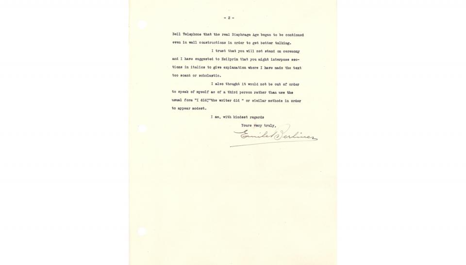 2nd page out of 2 Letter from Berliner discussing his paper and its presentation. April 17, 1929
