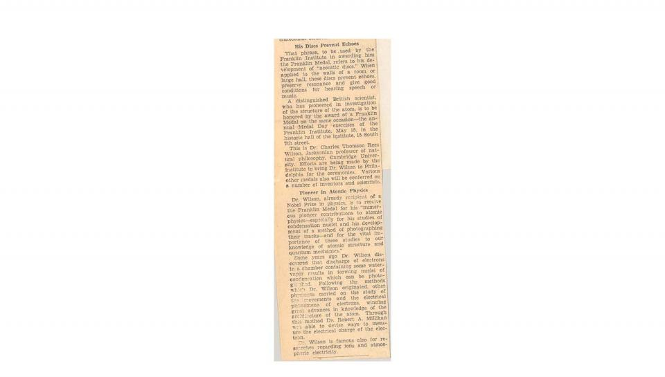 2nd page out of 2 Newspaper article about Berliner's Franklin Medal.