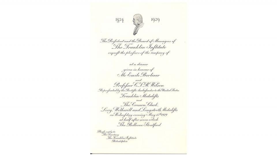 Invitation to the Medal Day Luncheon. May 15, 1929.