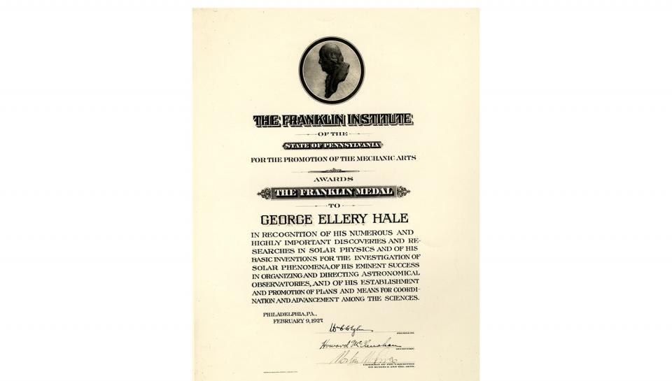 The certificate of the Franklin Medal award from The Franklin Institute, 2/9/1927