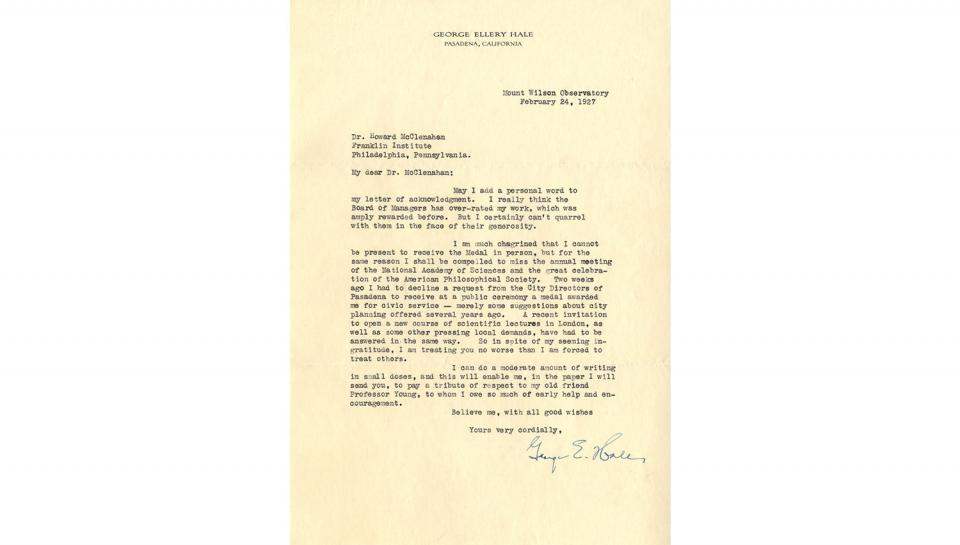 Letter from George Ellery Hale to Howard McClenahan, Appreciating the unexpected honor of the Franklin Medal award, 2/24/1927