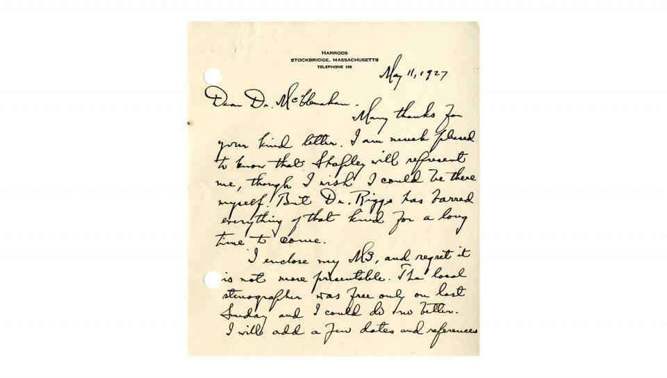 Page 1 of 2: Letter from George Ellery Hale to Howard McClenahan, Enclosing the paper to be presented at the Medal Day ceremony, 5/11/1927