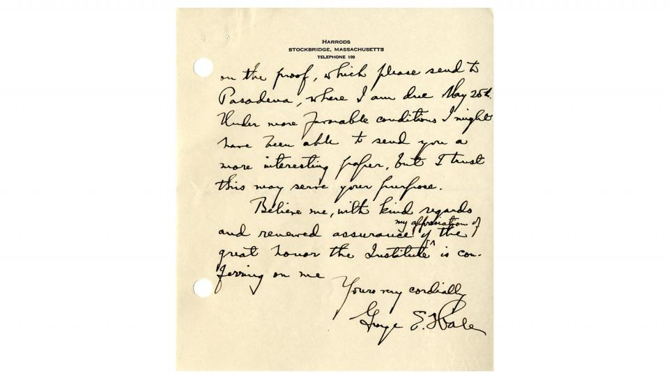 Page 2 of 2: Letter from George Ellery Hale to Howard McClenahan, Enclosing the paper to be presented at the Medal Day ceremony, 5/11/1927