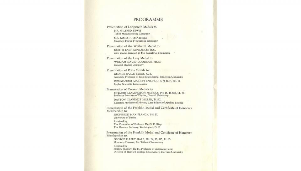 Page 2 of 3: Invitation/Programme to the Medal Meeting awarding Franklin Medals, 5/18/1927