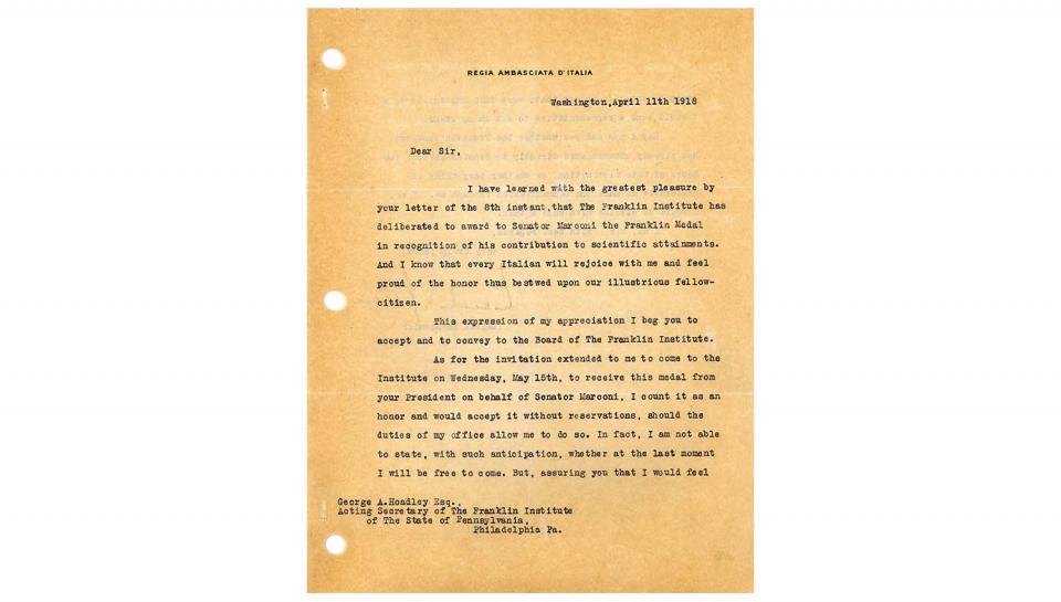 1st page out of 2 Acknowledgement Letter from Count V. Macchi de Celere to George A. Hoadley, Acknowledging the award to Senator Marconi, agreeing to accept on his behalf, 4/11/1918.