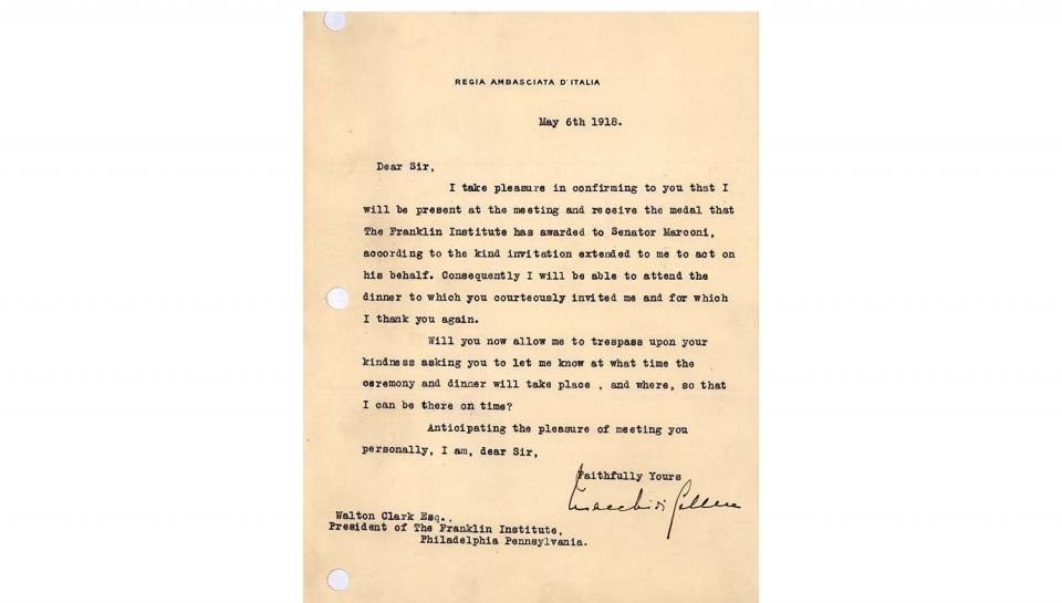 Acceptance Letter from Count V. Macchi de Celere to Walton Clark, Accepting the invitation to receive the Franklin Medal on behalf of Senator Marconi, 5/6/1918.