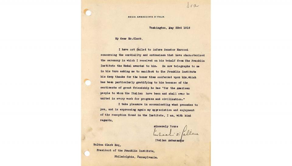 Thank You Letter from Count V. Macchi de Celere to Walton Clark, Conveying Senator Marconi's thanks for the honor of being a Franklin Medal awardee, 5/23/1918.